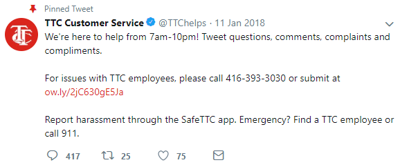 Tweet TTC Customer Service